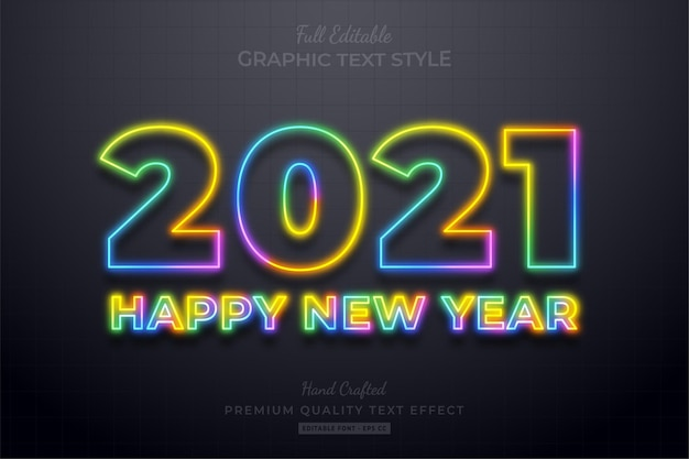 2021 happy new year colorful neon editable text effect font style