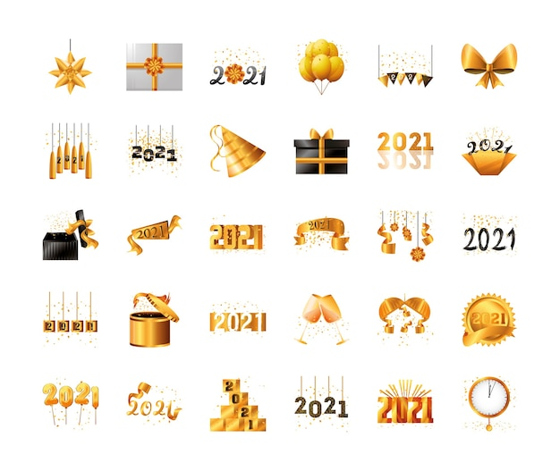 2021 happy new year detailed style 30 icon set design, welcome celebrate and greeting
