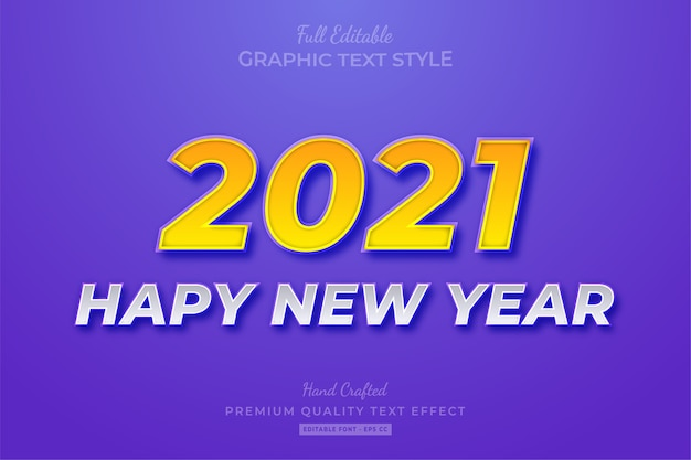 2021 happy new year editable text effect