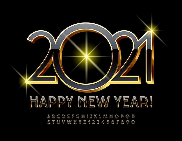 2021 happy new year. elegant black and gold 3d font. luxury premium alphabet letters and numbers