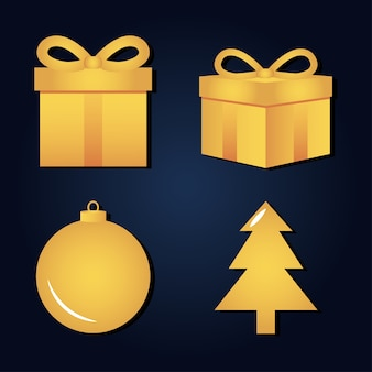 2021 с новым годом золотые яркие подарочные коробки мяч и елочные украшения значки