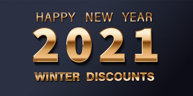 2021 happy new year. gold design metallic numbers date 2021 of greeting card.