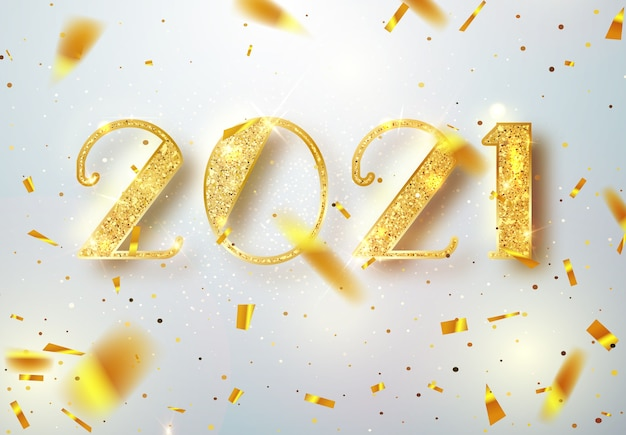 2021 felice anno nuovo. progettazione di numeri dell'oro della cartolina d'auguri di coriandoli lucenti che cadono. modello oro brillante. felice anno nuovo banner con numeri 2021 su sfondo luminoso. illustrazione.