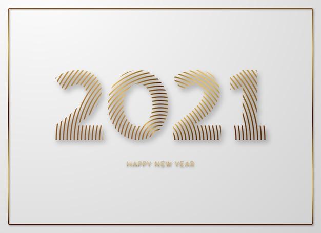 С новым 2021 годом. золотые числа из круговых линий на белом фоне.