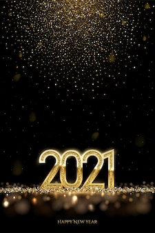 2021 happy new year, gold numbers with falling glitters