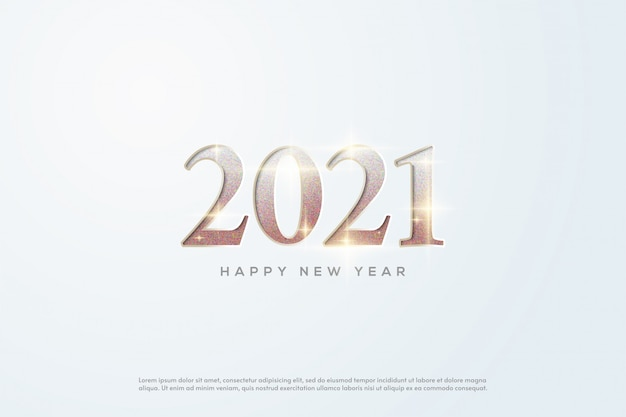 2021 happy new year gold numbers with shiny glitter