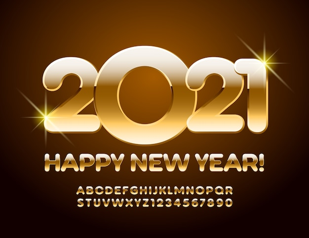 2021 happy new year. golden alphabet and numbers font typography