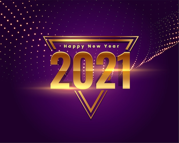 2021 happy new year golden stylish wishes card