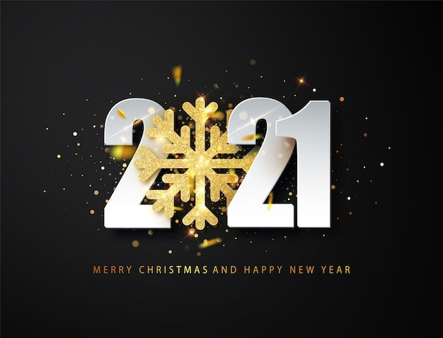 2021 happy new year greeting background with golden glitter snowflake and white numbers on black background.