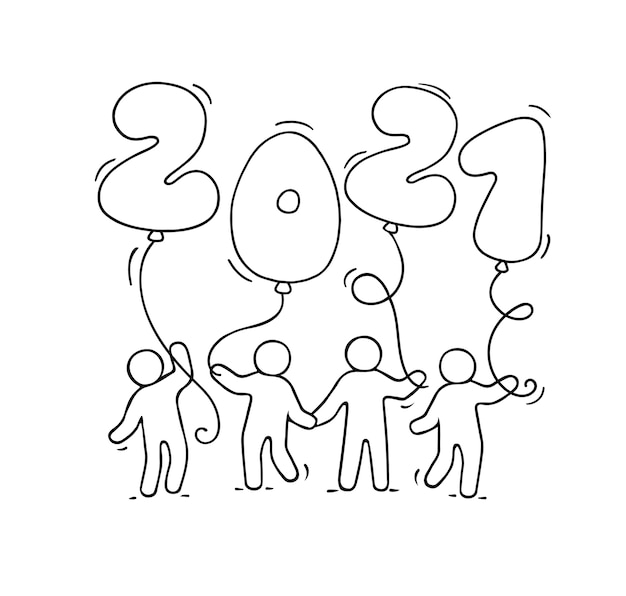 2021 happy new year greeting card. cartoon doodle illustration with little people holding balloons. hand drawn vector illustration for celebration.