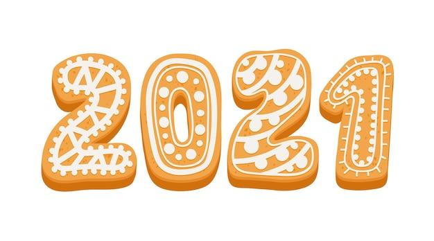 2021年明けましておめでとうございます白い背景で隔離のジンジャーブレッドクッキーとカードのタイポグラフィ。冬の季節の休日おめでとう、創造的なデザイン要素。漫画のベクトル図、アイコン