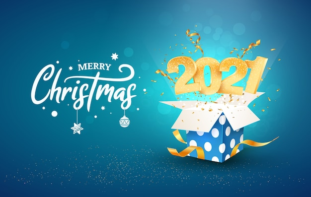 2021 happy new year   illustration. merry christmas celebration. golden numbers fly out blue gift box