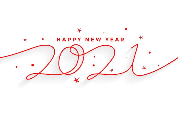2021 happy new year line style lettering background