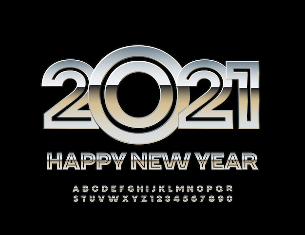 2021 새해 복 많이 받으세요 금속 크리 에이 티브 글꼴 실버 알파벳 문자와 숫자 세트