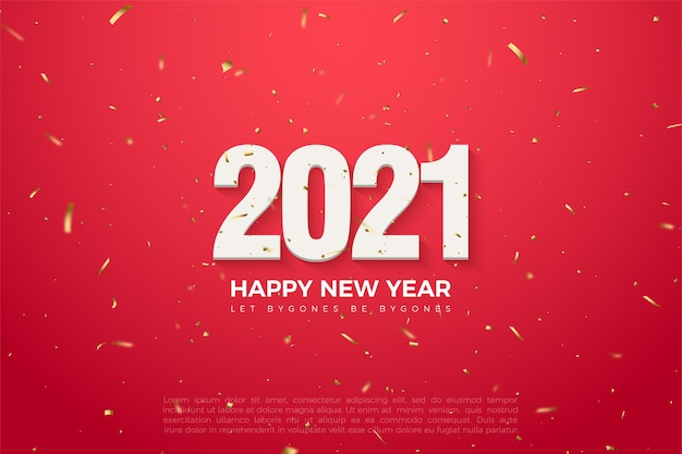 2021 happy new year red background with golden splash and numbers illustration