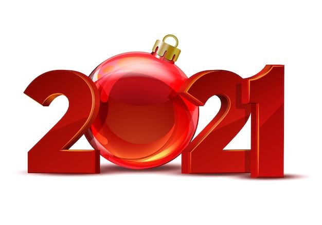 2021年明けましておめでとうございます。赤い数字赤いクリスマスボールとグリーティングカードのデザイン。休日 。 Premiumベクター