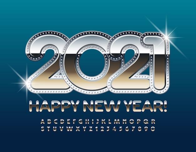 2021 새해 복 많이 받으세요. 반짝이 크롬 알파벳 문자와 숫자를 설정합니다. 금속 반사 글꼴