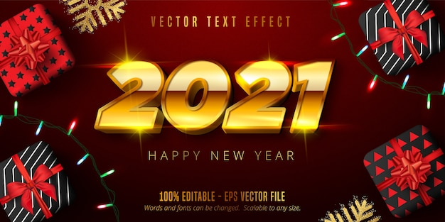 2021 happy new year text, shiny gold christmas style editable text effect
