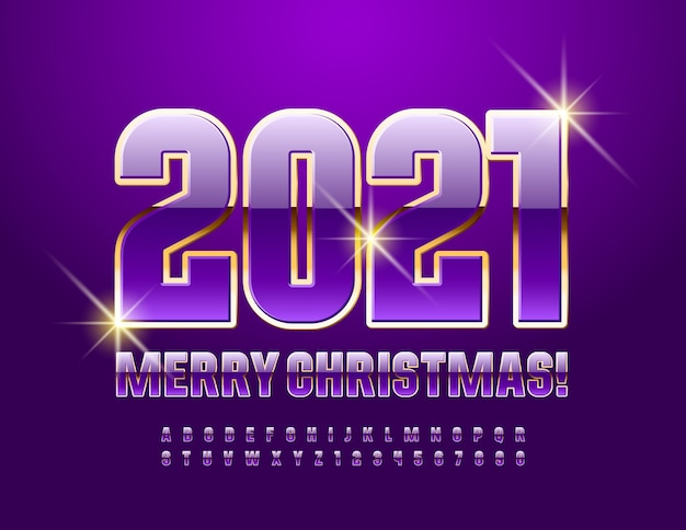 2021 happy new year. violet and gold shiny font. luxury alphabet letters and numbers set