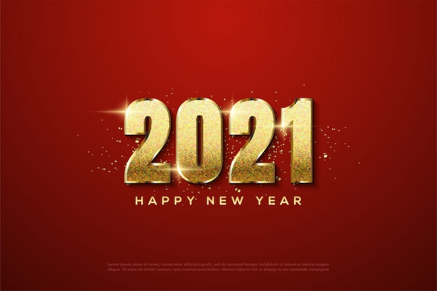 2021 happy new year with 3d gold glitters figures
