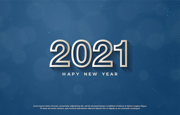2021 happy new year with 3d white line numbers.