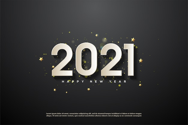 2021 happy new year with 3d white numbers on black background