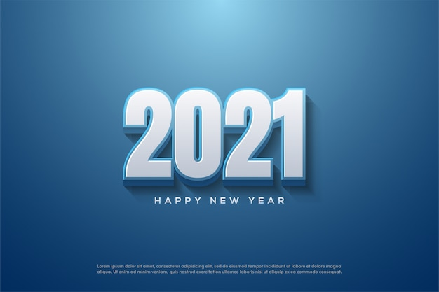 2021 happy new year with 3d white numbers on blue background
