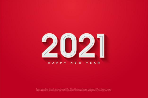 2021新年あけましておめでとうございます、赤の背景にエンボス加工された3 dの白い数字