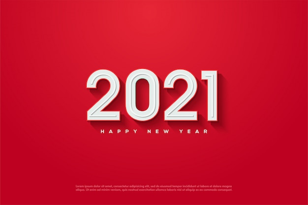 2021 happy new year with 3d white numbers embossed on a red background