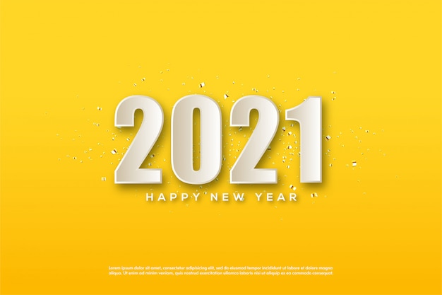 2021 happy new year with 3d white numbers on yellow background
