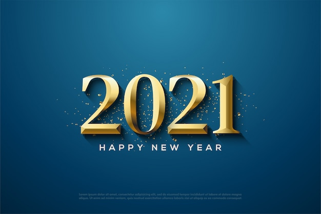 2021 happy new year with classic gold numbers and gold paper pieces being spread