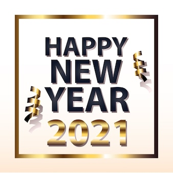 2021 happy new year with confetti in frame gold style design, welcome celebrate and greeting