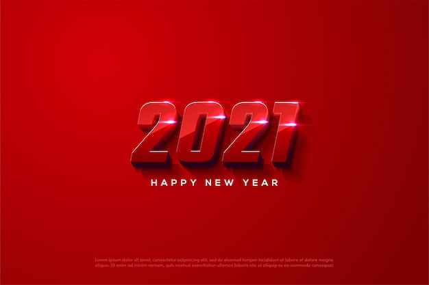 2021 happy new year with elegant red 3d numbers