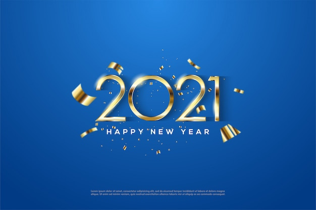 2021 happy new year with elegant thin gold numbers