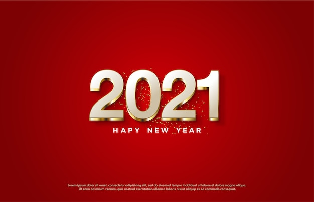 2021 happy new year with elegant white numbers and gold lines.