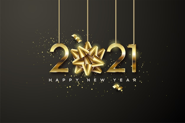2021 happy new year with gold numbers and gold ribbons