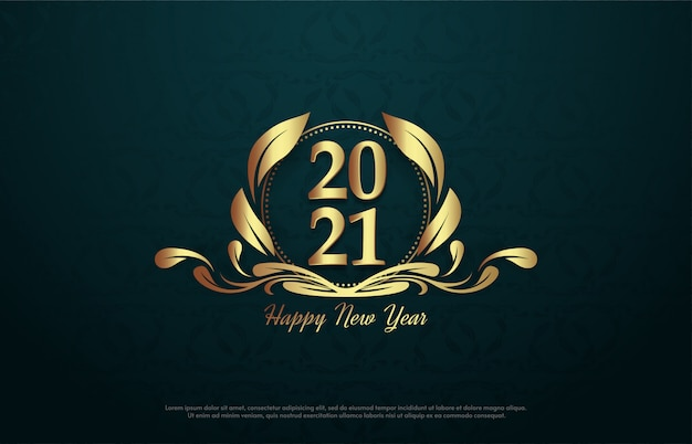 엠블럼에 금색 숫자가있는 2021 새해 복 많이 받으세요.