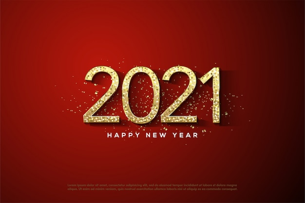 2021 happy new year with gold numbers with gold glitters