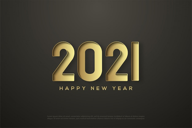 2021 happy new year with gold pressed numbers