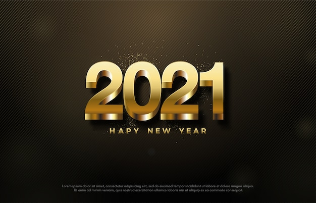 2021 happy new year with golden 3d numbers on dark background.