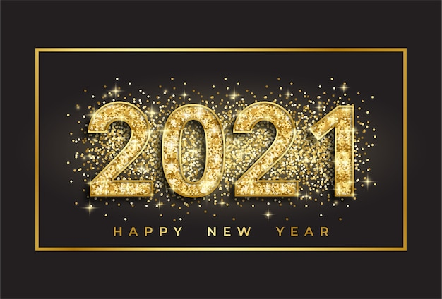 2021 happy new year with golden 3d numbers on dark background