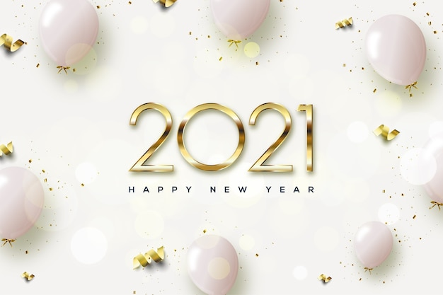 2021 happy new year with golden numbers and pink balloons.