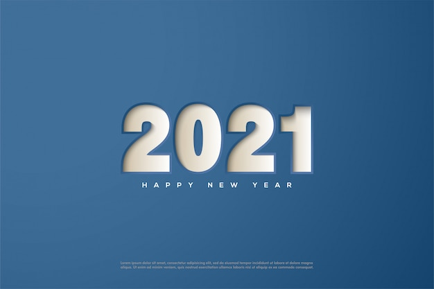 2021 happy new year, with numbers pressed on blue paper