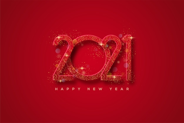 2021 happy new year with red numbers with gold glitters.