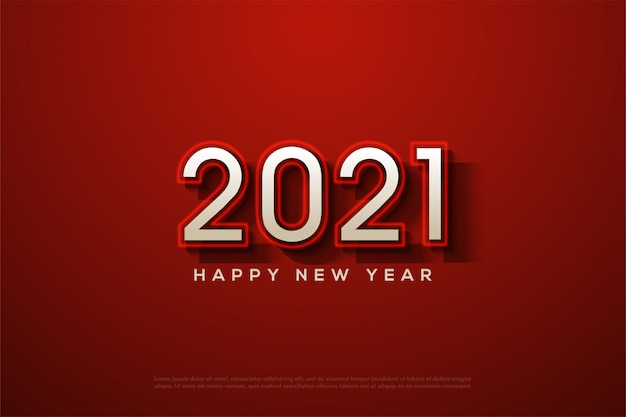 2021 happy new year with white numbers and glowing red lines