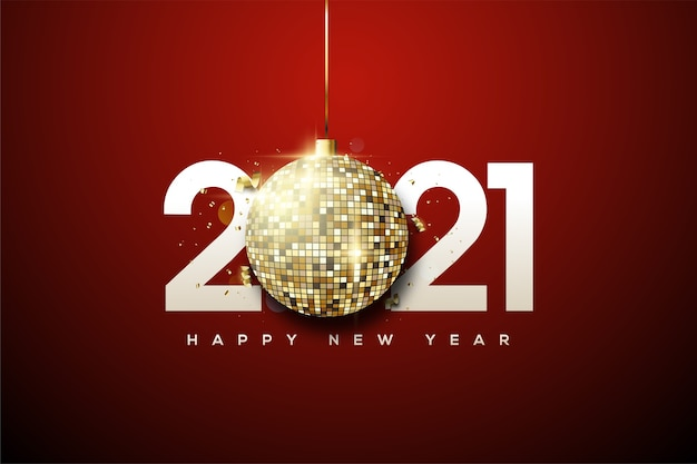 2021 happy new year with white numbers and gold disco balls.