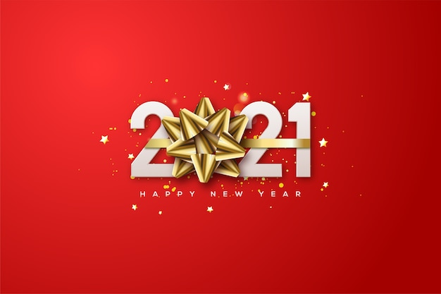 2021 happy new year with white numbers and a gold ribbon replacing the number 0