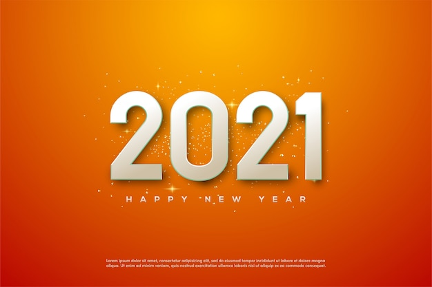2021 happy new year with white numbers and golden sparkles