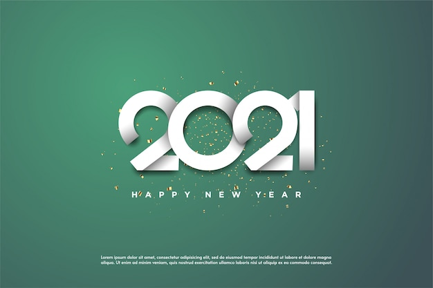 2021 happy new year with white numbers on a green background.