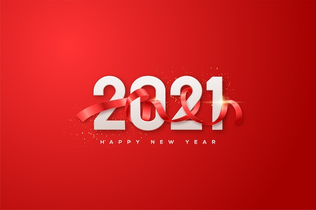 2021 happy new year with white numbers and a red ribbon covering the numbers.